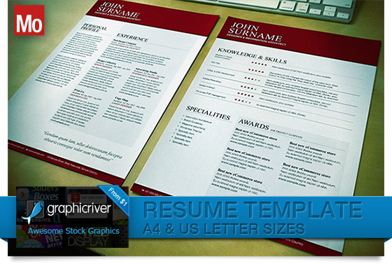 Typographical Resume Template for Indesign
