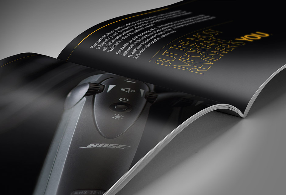 Bose Aviation Headset X Brochure spread close up